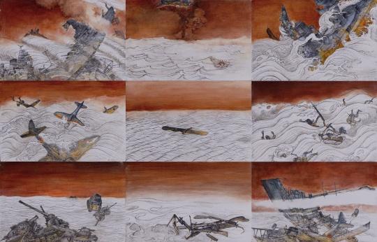 【提名奖】赵文悦 《汪洋荡寇图组画》 布面油画及综合材料 41.6×26.8cm×9 四川美术学院 2015