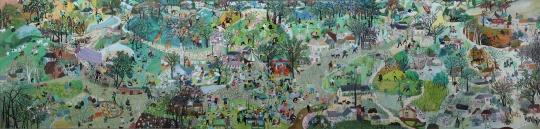 【提名奖】张可可 《童年记忆》 布面油画 130×540cm 山东艺术学院 2015