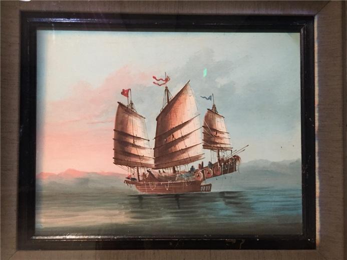 佚名作品,作于19世纪的治本水彩《缉私快船》,这是一种小型的中国战船,捕盗米艇,起初是官府采用,后改造成捕捉盗贼。
