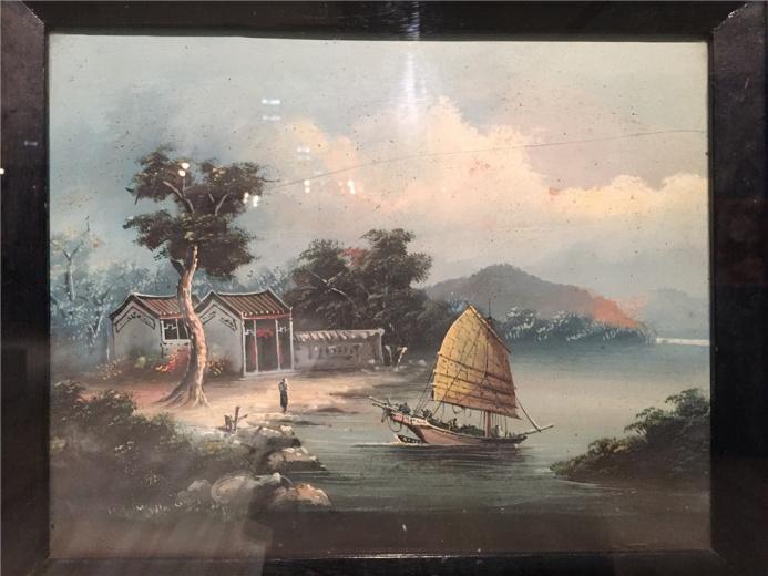 佚名作品,作于约19世纪中期的布面油画《岭南港景》,此为一幅海岸风景油画小品。明暗、空间层次处理分明,结构有着中国画山水小品的意趣。