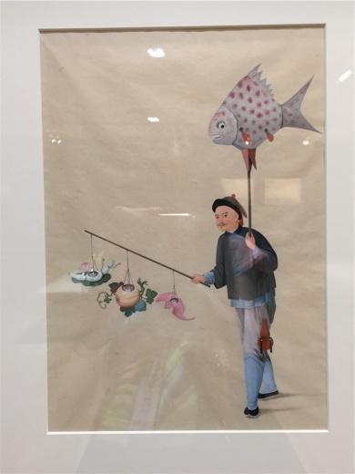 蒲呱画室作于19世纪的水彩纸本作品《卖花灯》,蒲呱以绘画的形式记录中国当时百工的诸多方面,可看做插图本的百科全书,因其是早期外销画家,他的绘画风格仍保留了较多中国传统绘画的程式。