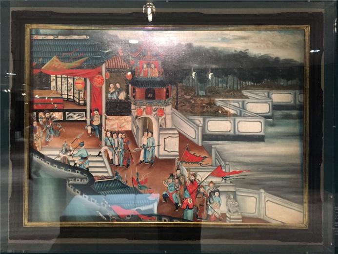 佚名作品,作于19世纪的布面油画,作品描绘的是粤剧在当时演出的场景。