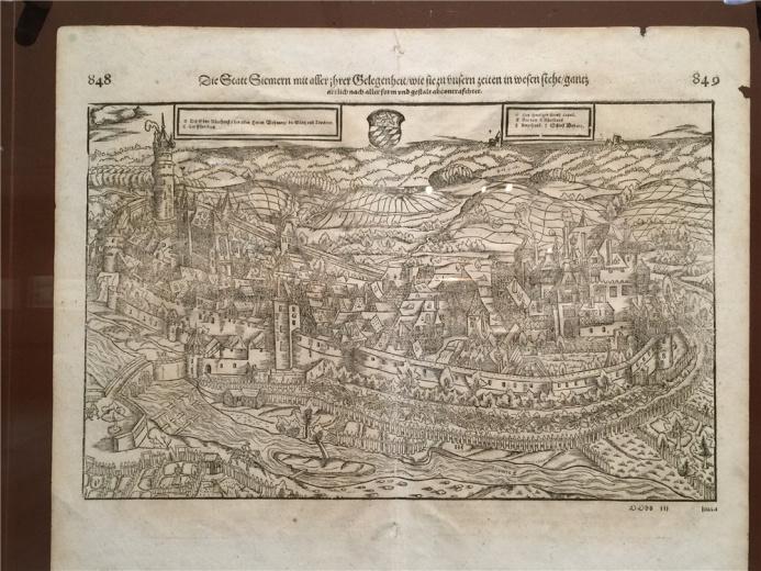 欧洲第一位绘出四大洲地图的制图家 海因里希.霍尔兹穆勒作于1550年的铜板作品《城镇地图之一》
