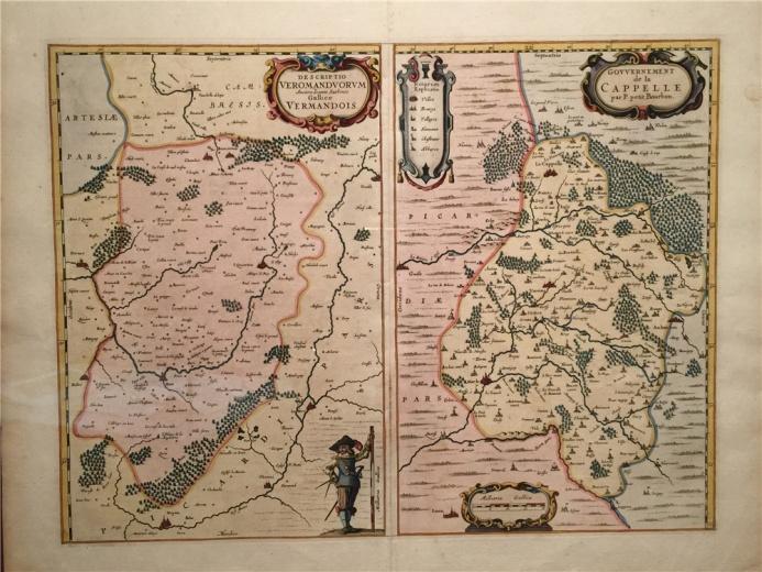 约翰.苏索尼奥作于1620年的刻蚀铜板作品《法国地区地图》