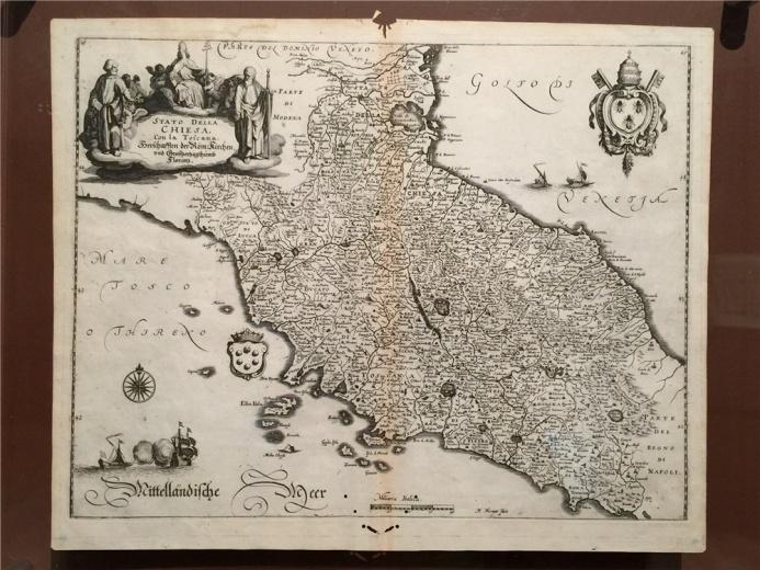 该地图是17世纪意大利地图学派的精品代表作,作于1634年的《意大利托斯卡纳地图》,起到了暗示时局的作用