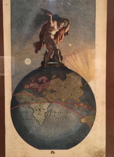 与其他地图相比,这件作于17世纪的铜板彩绘《阿特拉斯》更像一件绘画作品。阿特拉斯是希腊神话中的擎天神。