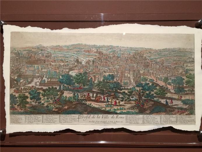 雕刻家、出版家、印刷家 皮埃尔.阿维里尼作于18世纪的铜版地图《罗马城镇简介地图》,该图的设计形式很重要,他的创作经常运用绘画技法,图像写实成分较强,且存在透视