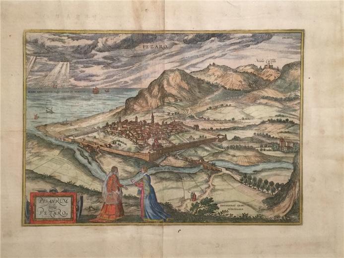 霍芬格尔.吉奥基乌斯作于1581年的铜版地图《佩萨罗地图》,地图强烈的抒情意味是地图绘制中艺术表现为主流的一种倾向。