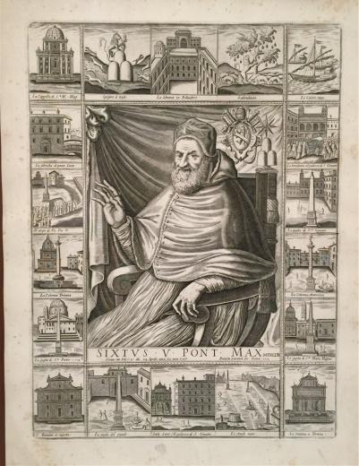 佛兰芒的雕刻家与画家 尼古拉斯.凡.埃尔斯特作于1589年的蚀刻铜版作品《西克斯图斯五世地图》,人物位于地图中心、地图与人物的结合方式都极为少见。