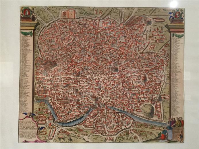 佚名作品,作于18世纪铜版彩绘《罗马城市地图》,显示的是古罗马帝国时期的城市建筑,图中附有主要地名文字标记。