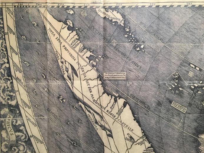 德国地图大师马丁.瓦尔德塞穆勒创作于18世纪 的作品:《根据托勒密传统方法绘制的世界地图》,此为复制品,原作藏于美国国会图书馆。此为地图局部