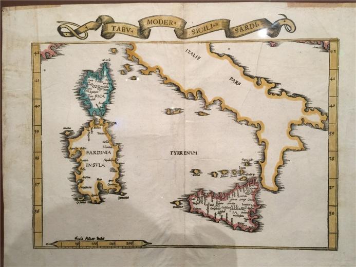 德国著名制图家劳伦茨.弗莱斯作于1535年的作品《西西里与撒丁岛图》