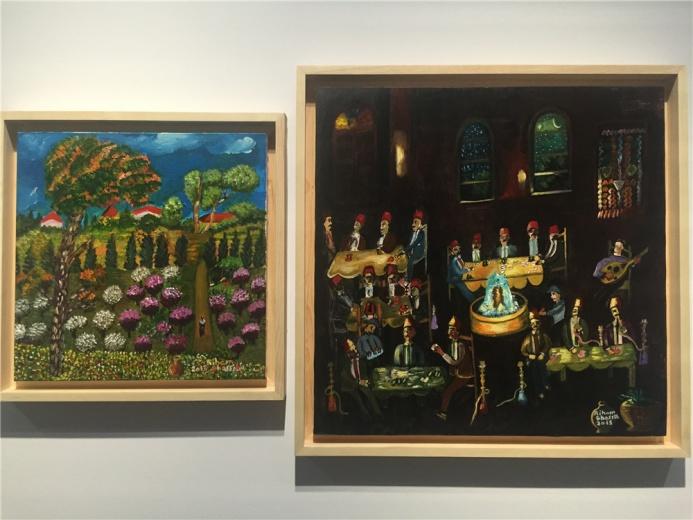 Riham Ghasseib 布面丙烯作品2013年《风景图》、2014年《咖啡厅》