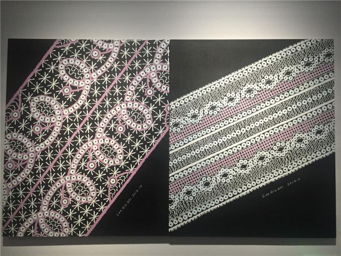 李秋实2014年布面丙烯作品,展出多件,此为其中一件,名为《回族花纹》