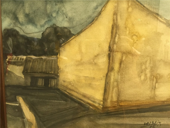 张键2013年纸上水彩作品《地缘碎片》,其中一件作品