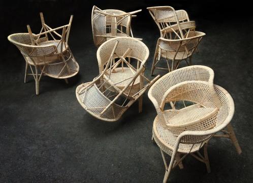 张翔 《恋》 90 × 90 × 90cm × 5 藤椅 2014