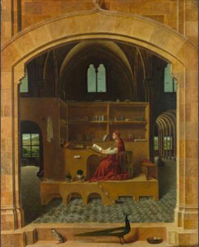 富有故事性和情节的作品《Saint Jorome in his study》