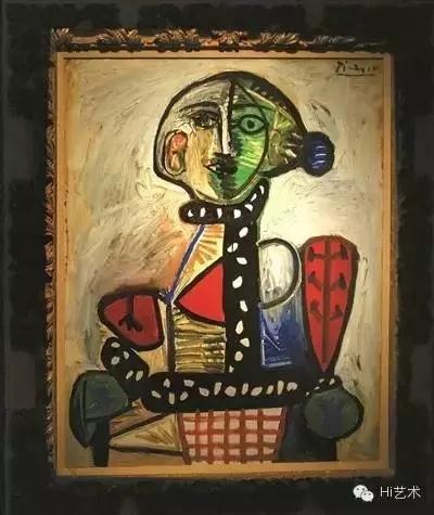 毕加索1948年创作的作品《盘发髻女子坐像》