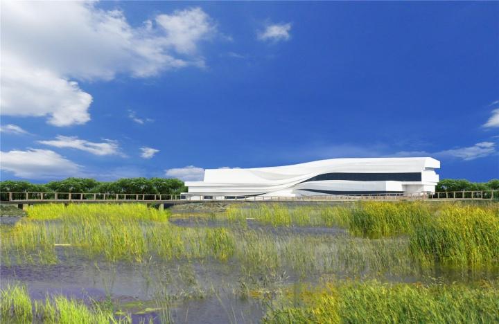 美术馆外景图 美术馆的建筑由80后设计团队waa(We Architech Anonymous)建筑事务所设计,建筑宛如一块白色沉积岩,见证者黄河畔的时间流逝