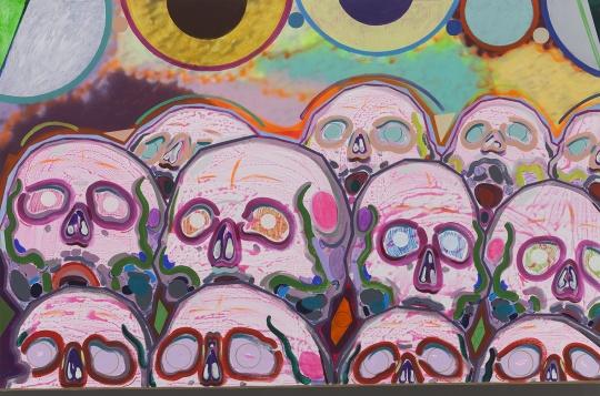 《十二个骷髅》200×300cm布面丙烯,喷漆 2015