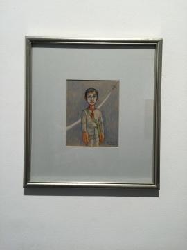 曾梵志 《面具系列》 18.5×14.7cm 纸本色粉笔 1998