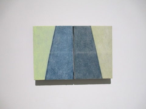 陈丽珠 《听路No.1》33×24cm×2 布面油画 2011