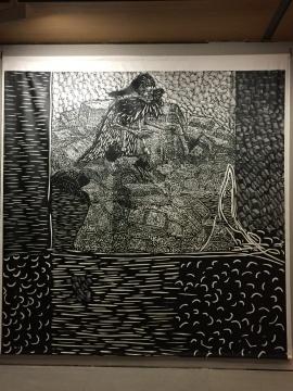 《城市幽灵》 350×320cm 黑白木刻 2004