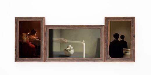 叶秋森作品《三联画》,中间为影像
