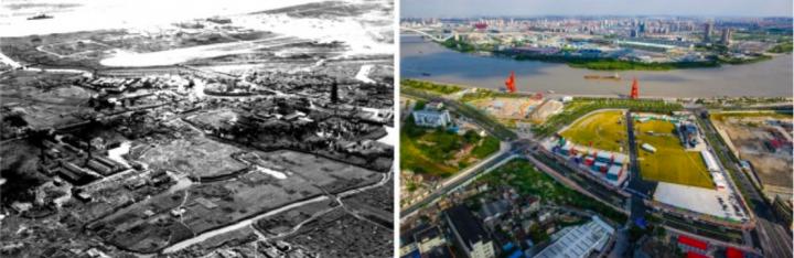 改造前后的徐汇区滨江