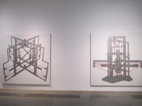 王鲁炎 《被锯的锯D13-02》、《被锯的锯D13-01》250×250cm 布面丙烯 2013