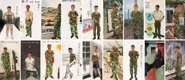 2004年《战地写生:新十八罗汉》,一组18件肖像,每件高2、宽1米