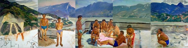 《温床之一》(五联画) 260x1000cm 布面油画 2005