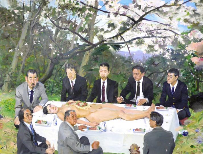《樱花树下》195x260cm 布面油画 2007