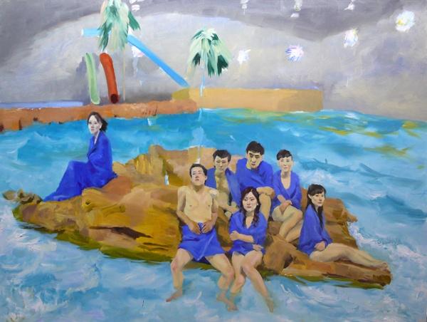 """《人造海浪》 195x260cm 布面油画 2007 人物画好,徒留背景创作时,他说:""""未知结果,过程迷人""""。"""