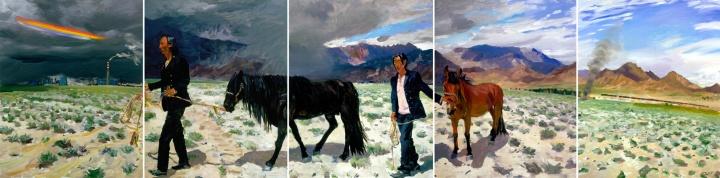 《青藏铁路》(五联画) 250x1000cm 布面油画 2007
