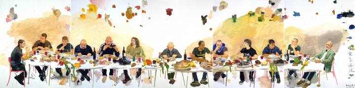 《吃完了再说》(五联画) 250x1000cm 布面油画 2008