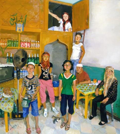 《何氏一家》290x260cm 布面油画 2009