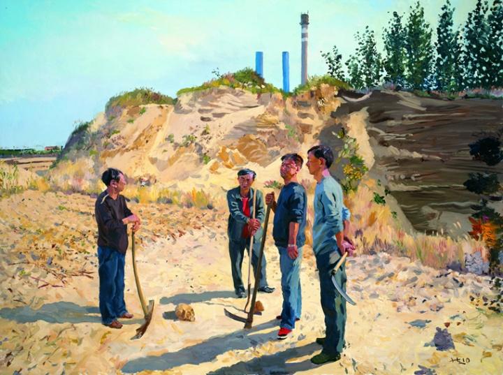 《我的埃及》300x400cm 布面油画 2010 四个兄弟围着在坟场挖出来的头骨 小时候这里大得就像埃及金字塔,我还想在里头刨出骨头什么的。这就是我心中的沙漠。(10月4日日记)