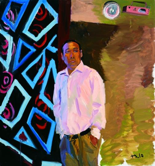 《郭强在自己开的KTV里》150x140cm 布面油画 2010