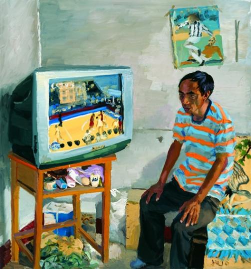 《力五上夜班白天睡不着》150x140cm 布面油画 2010