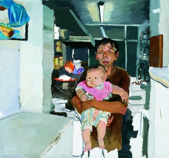 《树军和他的胖儿子》 140x150cm 布面油画 2010