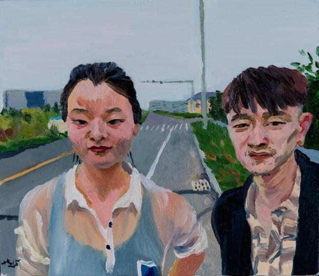 《小军和秀灵》35 x 40 cm 布面油画 2015