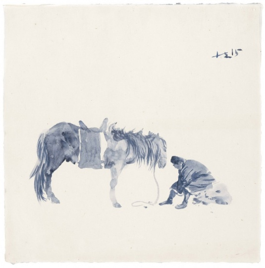 《蓝色 9》 50 x 50 cm 纸上丙烯 2015
