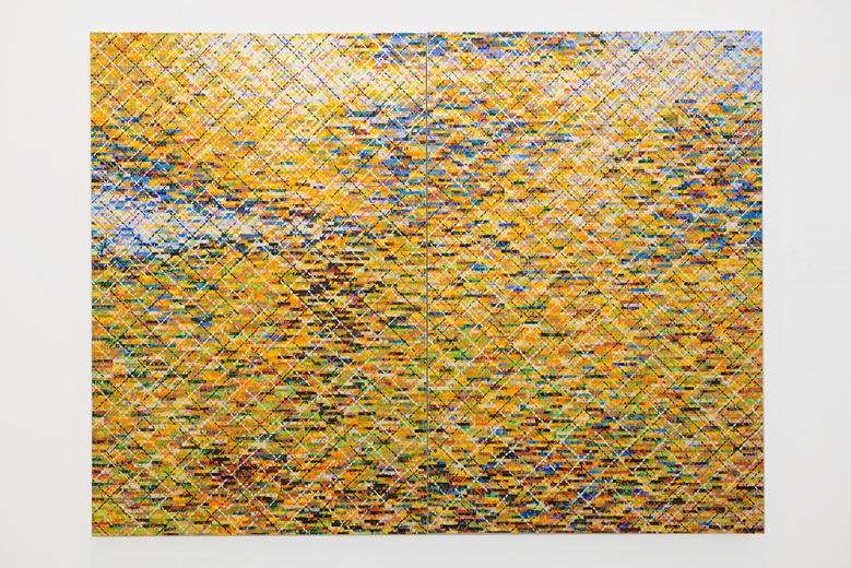 庄普,一位年近70的台湾抽象艺术的代表性艺术家。这件2015年创作的 《八月之光》,仿佛出自将我们拉回到一个波光粼粼的下午,惬意而怀旧。