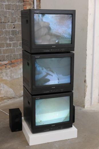 """博而励画廊在带来了张培力在1998的3视频录像装置《个人卫生》参加此次博览会的""""公共展览项目""""。"""