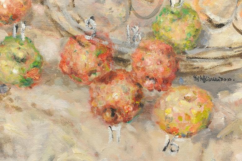 刘炜的这件2010年的作品,从画面到主题都是对西方美学传统的一次挑战,这也是画廊基于整个艺博会的国际气质所做选择。这件500万人民币的作品《苹果·沙发》是此次大未来林舍带来的最贵的作品。