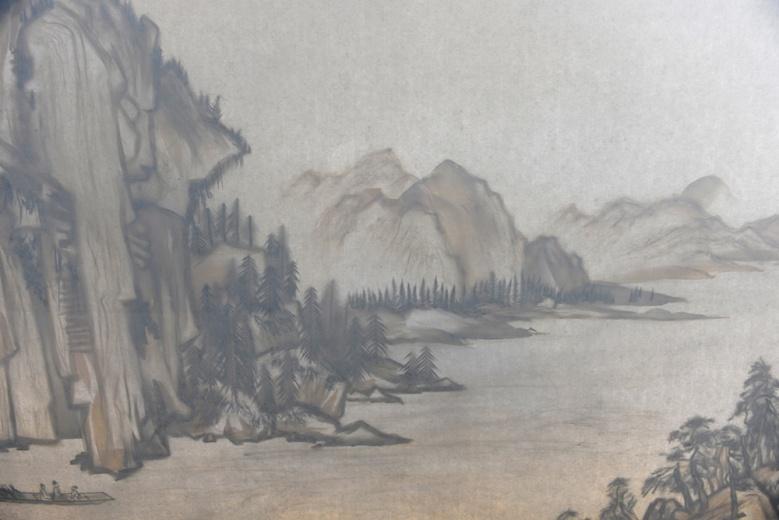 此外,画廊还带来徐冰2015年的装置作品《背后的故事》,观众分别从作品的正面与背面观看两件不同的山水,那些废物拼接而成的场景,被投影成经典之作《赤壁赋》。