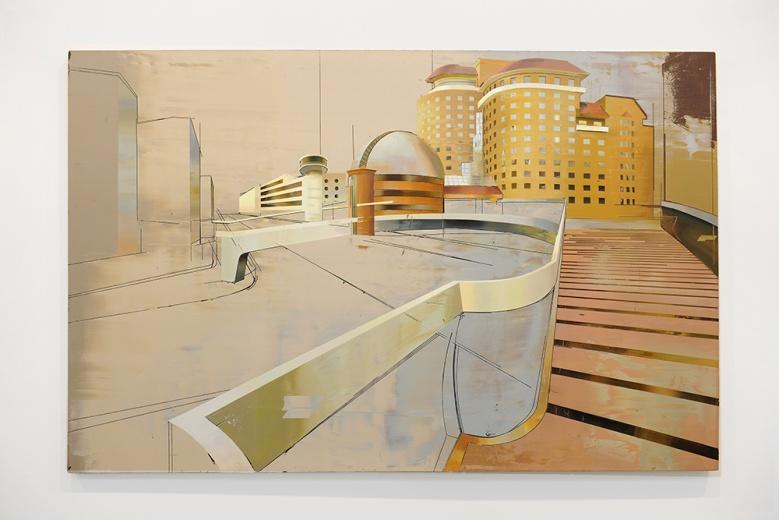现居于北京的年轻画家崔洁,她通过充满雕刻感的、多图层的画面展现了城市风景的另外一种可能,不同图层肌理的叠合剖析了中国现代化进程以来城市结构、规划和设计变化中所透析的时代变迁。