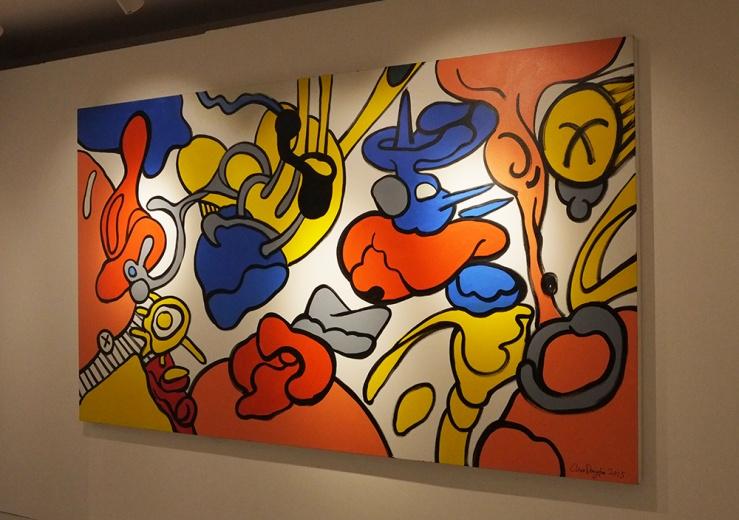 新创作完成的大尺幅作品,洒脱坚定的笔触,饱和度极高的三原色不由自主的会让站在画面观众心情愉悦。