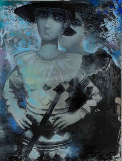 《双子座小丑》 70×90cm 布面油画 2014
